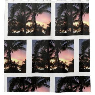 Cortina Para Chuveiro Por do sol da palmeira