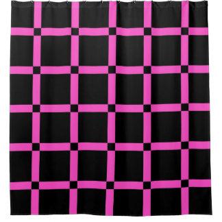 Cortina Para Chuveiro Preto & grade cor-de-rosa de néon Patern