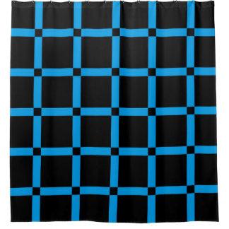 Cortina Para Chuveiro Preto & teste padrão de grade azul de néon