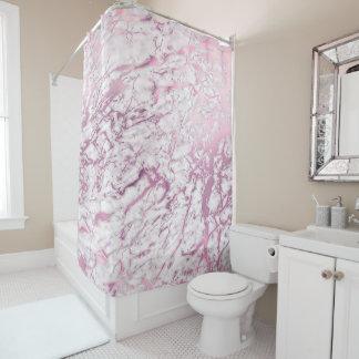 Cortina Para Chuveiro Rosa Amethyst branco de Carrara do abstrato de