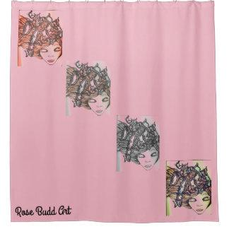 Cortina Para Chuveiro rosa da cortina de chá