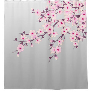 Cortina Para Chuveiro Rosa floral das cinzas das flores de cerejeira