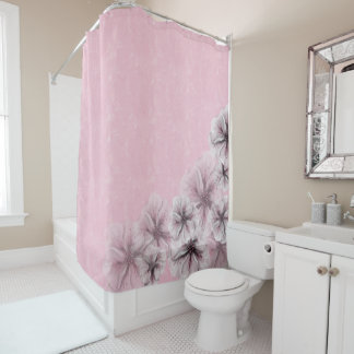 Cortina Para Chuveiro Rosa Textured com flores