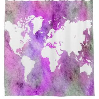 Cortina Para Chuveiro Roxo do mapa do mundo do design 61