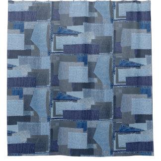 Cortina Para Chuveiro Sarja de Nimes azul Shibori dos retalhos de Boro