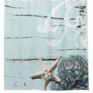 Cortina Para Chuveiro Seashells azuis da estrela do mar do aqua de
