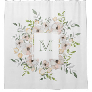 Cortina Para Chuveiro Seu monograma em uma cortina de chá do quadro da