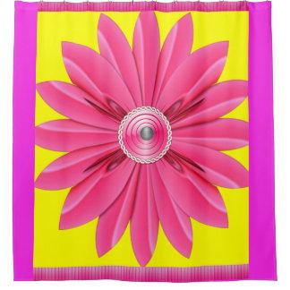 Cortina Para Chuveiro Showercurtain cor-de-rosa da flor seu amarelo da