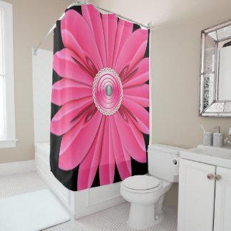 Cortina Para Chuveiro showercurtain cor-de-rosa do preto da flor
