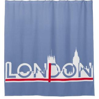 Cortina Para Chuveiro Silhueta de Londres e bandeira inglesa