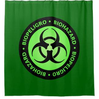 Cortina Para Chuveiro Sinal de aviso verde do Biohazard