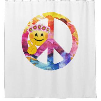 Cortina Para Chuveiro Sinal de paz, arte da aguarela do Emoticon do