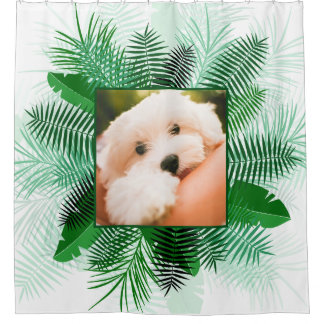 Cortina Para Chuveiro Sua foto em uma cortina de chá em folha de
