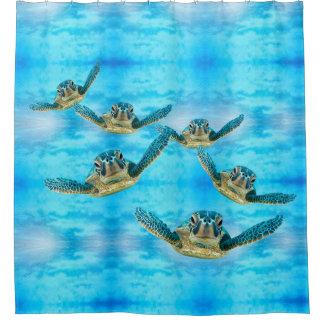 Cortina Para Chuveiro Tartarugas de mar do bebê que nadam