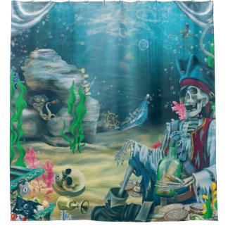 Cortina Para Chuveiro Tesouro de esqueleto do pirata sob o mar
