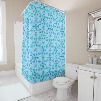 Cortina Para Chuveiro Teste padrão azul e branco do hexágono do floco de