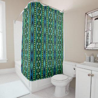 Cortina Para Chuveiro Teste padrão azul & verde asteca tribal moderno