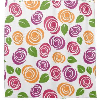 Cortina Para Chuveiro Teste padrão cor-de-rosa retro do estêncil da