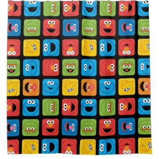 Cortina Para Chuveiro Teste padrão cubado Sesame Street das caras