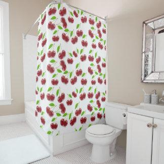 Cortina Para Chuveiro Teste padrão da fruta da cereja na cortina de chá