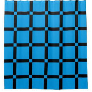 Cortina Para Chuveiro Teste padrão de grade azul & preto