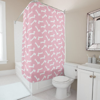 Cortina Para Chuveiro Teste padrão do Dachshund no rosa e no branco