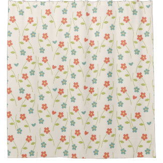 Cortina Para Chuveiro Teste padrão floral contemporâneo moderno