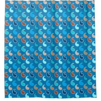 Cortina Para Chuveiro Teste padrão moderno de Paisley, azul Cerulean,