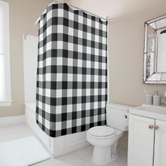 Cortina Para Chuveiro Teste padrão preto e branco Checkered do guingão
