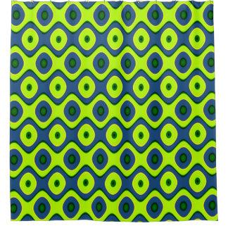 Cortina Para Chuveiro Teste padrão retro azul e verde amarelo