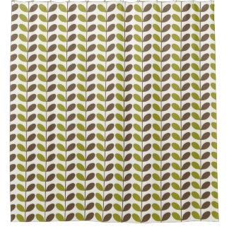 Cortina Para Chuveiro Teste padrão verde retro da folha de Brown