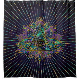 Cortina Para Chuveiro Todo o olho místico de vista na flor de Lotus