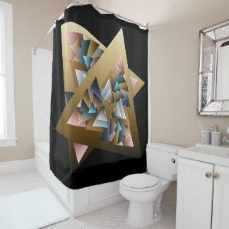 Cortina Para Chuveiro Triângulos metálicos geométricos