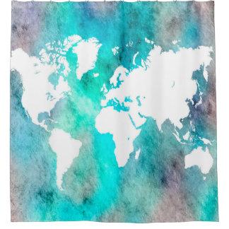 Cortina Para Chuveiro Turquesa do Aqua do mapa do mundo do design 62