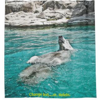Cortina Para Chuveiro Urso polar que flutua na água - contexto de pedra
