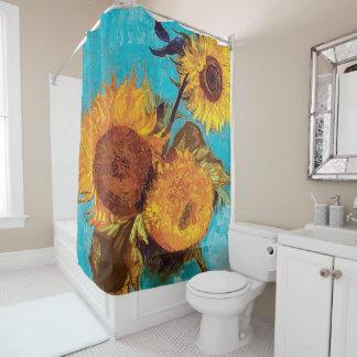 Cortina Para Chuveiro Van Gogh - três girassóis em um vaso - belas artes