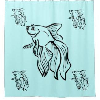 Cortina Para Chuveiro Verde de combate Siamese da hortelã dos peixes