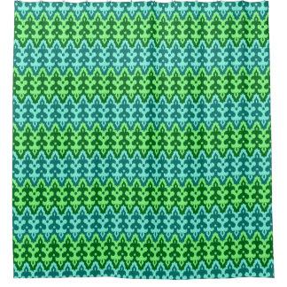 Cortina Para Chuveiro Verde do damasco, da turquesa & de jade de Ikat do