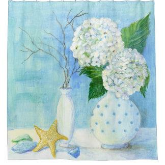 Cortina Para Chuveiro Vidro floral do mar da estrela do mar da casa de