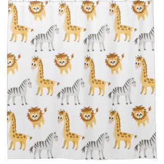 Cortina Para Chuveiro Zebra do bebê, girafa e leão Cub
