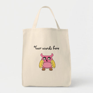 Coruja amarela cor-de-rosa bolsa