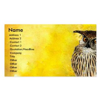 Coruja animal artística do pássaro do vintage cartão de visita