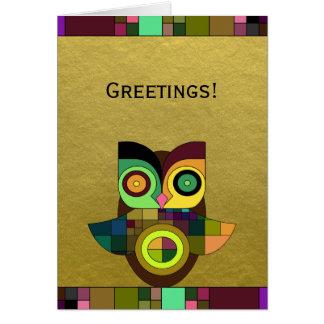 Coruja asteca tribal Funky na folha de ouro do Cartão Comemorativo