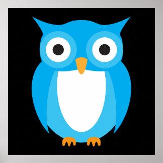 Coruja azul - adicione seu próprio texto impressão