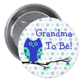 """Coruja azul """"avó a ser"""" botão do chá de fraldas boton"""