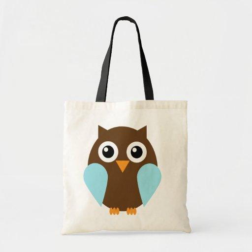 Coruja azul bolsa para compras