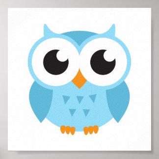 Coruja azul bonito do bebê dos desenhos animados impressão