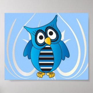 Coruja azul bonito poster