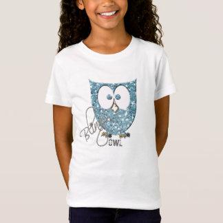 Coruja azul de Bling do brilho (falso) Camiseta