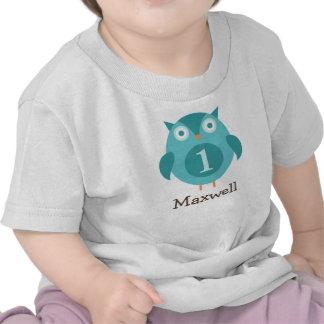Coruja azul personalizada do t-shirt do aniversá